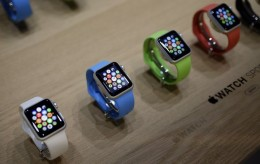 Varieties of the new Apple Watch are on display in the demo room after an Apple event on Monday, March 9, 2015, in San Francisco. Pre-orders for the Apple Watch start April 10. The device costs $349 for a base model, while a luxury gold version will go for $10,000. (AP Photo/Eric Risberg) Apple Event