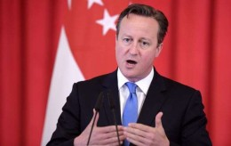 Britain's Prime Minister David Cameron, speaks at a press conference, Wednesday, July 29, 2015 at the Istana, or Presidential Palace, in Singapore. Cameron is in the city-state for two days as part of his tour of South-east Asia that will take him to Indonesia, Malaysia and Vietnam. (AP Photo/Joseph Nair) Singapore Britain