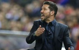 Atletico's coach Diego Simeone reacts during the Champions League 1st leg semifinal soccer match between Atletico Madrid and Bayern Munich at the Vicente Calderon stadium in Madrid, Spain, Wednesday, April 27, 2016. (AP Photo/Francisco Seco) Spain Soccer Champions League